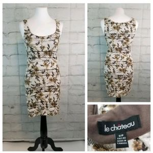 Le Chateau S Off-White Brown Crochet Overlay Dress